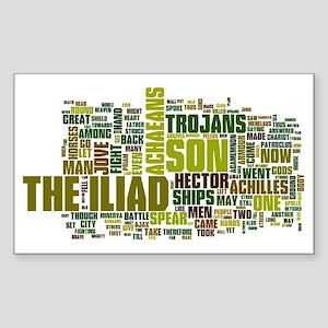 Word Art from Homer's Iliad Sticker (Rectangle)