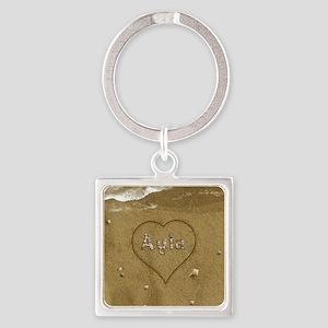 Ayla Beach Love Square Keychain