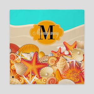 Beach Day Monogram Queen Duvet