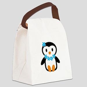 Luau penguin Canvas Lunch Bag