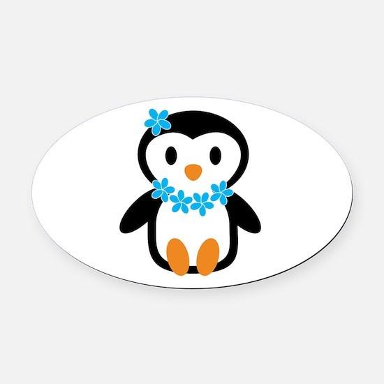 Luau penguin Oval Car Magnet