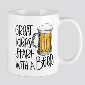 Great Ideas Start With A Beer 11 oz Ceramic Mug