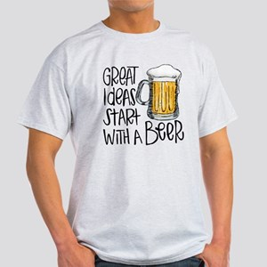 Great Ideas Start With A Beer Light T-Shirt
