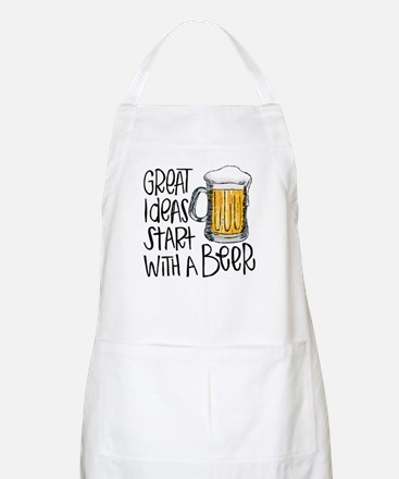 Great Ideas Start With A Beer Light Apron