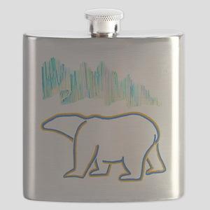 POLAR BEAR AND NORTHERN LIGHTS Flask