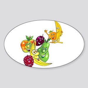 Healthy Happy Fruit Oval Sticker