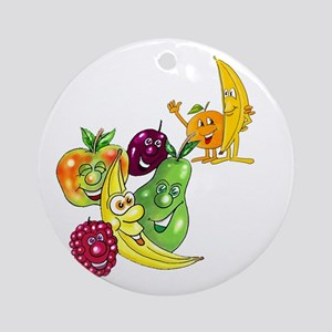 Healthy Happy Fruit Ornament (Round)
