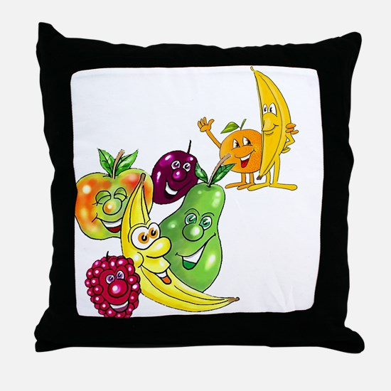 Healthy Happy Fruit Throw Pillow