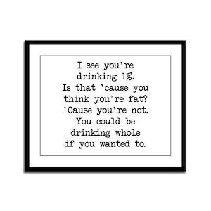 Drinking 1% (blk) - Napoleon Framed Panel Print
