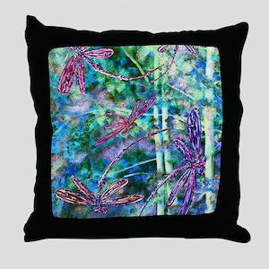 Dragonflies Forest Light Throw Pillow