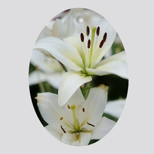 White Lilies Oval Ornament
