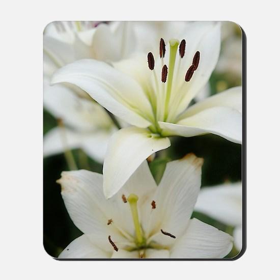 White Lilies Mousepad