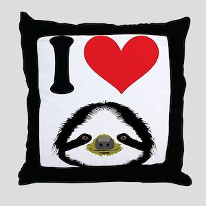 I HEART SLOTH Throw Pillow