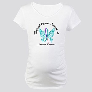 Thyroid Cancer Butterfly 6.1 Maternity T-Shirt
