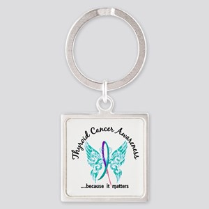 Thyroid Cancer Butterfly 6.1 Square Keychain