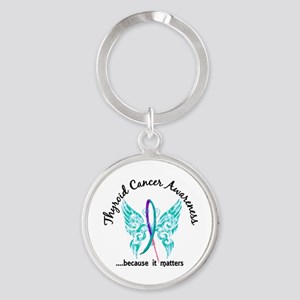 Thyroid Cancer Butterfly 6.1 Round Keychain