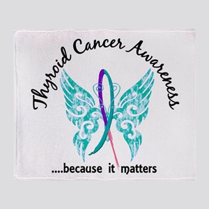 Thyroid Cancer Butterfly 6.1 Throw Blanket