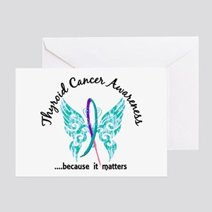 Thyroid Cancer Butterfly 6.1 Greeting Card