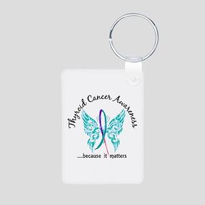 Thyroid Cancer Butterfly 6 Aluminum Photo Keychain