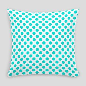 Teal Polka Dots Everyday Pillow