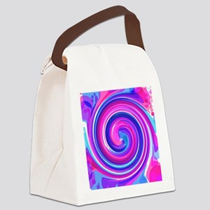 Blue n pink Whirlpool Canvas Lunch Bag