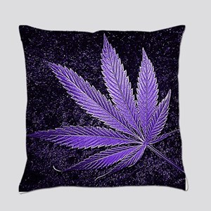 Purple Cannabis Leaf Everyday Pillow