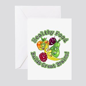 Healthy Food Builds Great Brains! Greeting Cards (