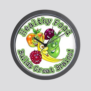 Healthy Food Builds Great Brains! Wall Clock
