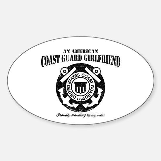 American Coastie Girlfriend Oval Decal