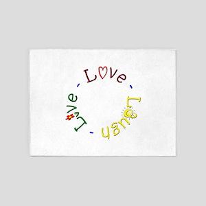 Live Love Laugh 5 Round 5'x7'Area Rug