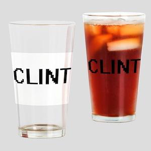 Clint Digital Name Design Drinking Glass