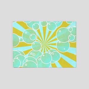 Aqua bubbly art 5'x7'Area Rug