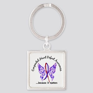 Congenital Heart Defect Butterfly Square Keychain