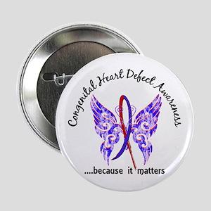 """Congenital Heart Defect Butterfly 6.1 2.25"""" Button"""