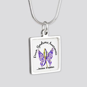 Down Syndrome Butterfly 6. Silver Square Necklace