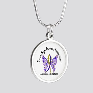 Down Syndrome Butterfly 6.1 Silver Round Necklace