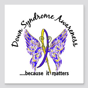 """Down Syndrome Butterfly Square Car Magnet 3"""" x 3"""""""