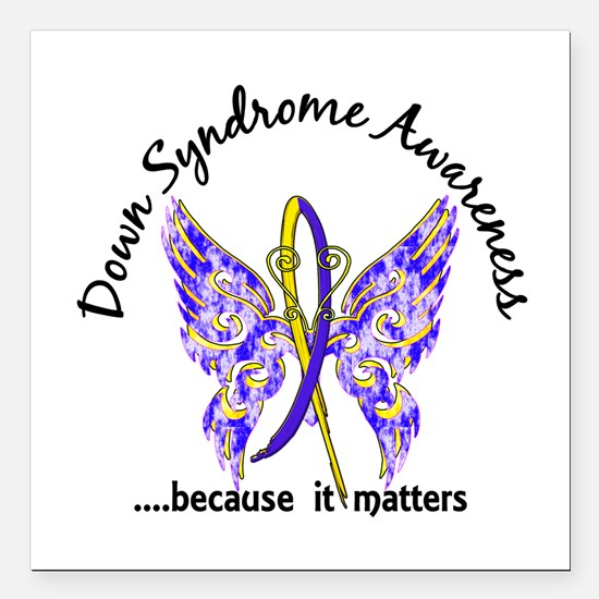 "Down Syndrome Butterfly Square Car Magnet 3"" x 3"""
