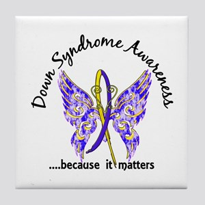 Down Syndrome Butterfly 6.1 Tile Coaster