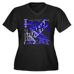 Jazz Blue Women's Plus Size V-Neck Dark T-Shirt