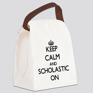 Keep Calm and Scholastic ON Canvas Lunch Bag