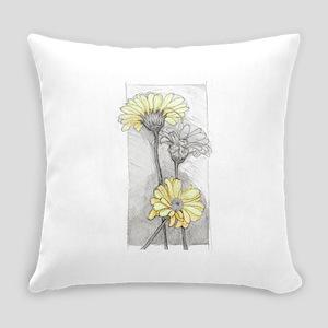 3 Gerberas Yellow Everyday Pillow