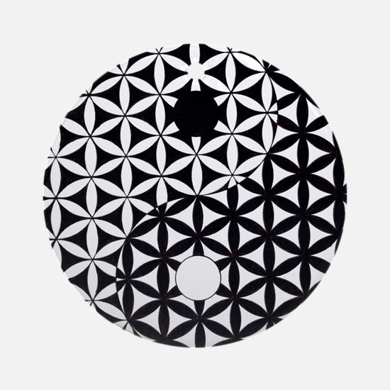 Yin Yang Flower of Life Ornament (Round)