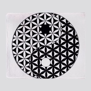 Yin Yang Flower of Life Throw Blanket