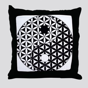 Yin Yang Flower of Life Throw Pillow