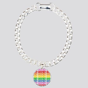 Rainbow Name Pattern Charm Bracelet, One Charm