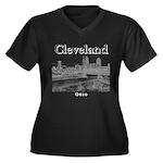 Cleveland Women's Plus Size V-Neck Dark T-Shirt