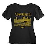 Clevelan Women's Plus Size Scoop Neck Dark T-Shirt