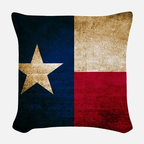 Vintage Flag of Texas Woven Throw Pillow
