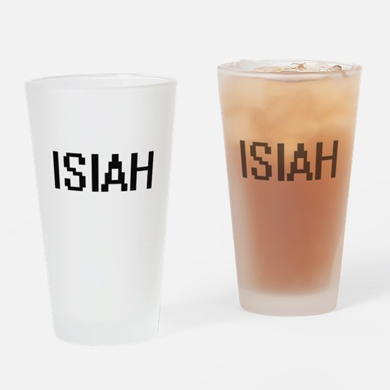 Isiah Digital Name Design Drinking Glass